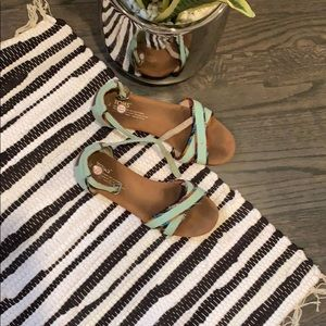 DONATING SOON Toms aqua strappy flat sandals